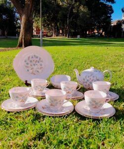 Vintage Tuscan 21 Piece Teaset Cups Saucers Pink