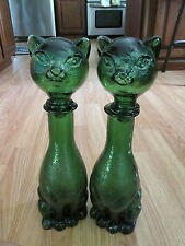 "2 Vtg Green Glass Italian Cat Wine Bottle Cruet Decanters  14 1/2""  Mid Century"
