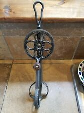Antique Hand Mixer Egg Beater Crank Wood Handle Iron Tin Cyclone Victorian 19th
