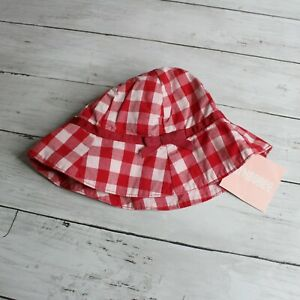 Gymboree Vintage Baby Girl Sun Hat Infant Size 3-6 Months Red Plaid Gingham