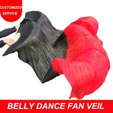 100% Silk Belly Dance Fan Veil Real Silk Dance Fan Veils US Shipping