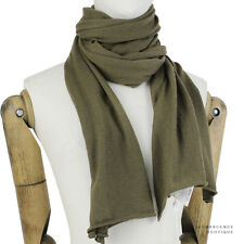 Michael Kors Khaki Green Finely Knit Pure Cashmere Long Scarf