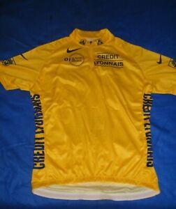 Tour De France O1 Official Yellow Jersey Nike  Sz XL 1/4 Zip Credit Lyonnais