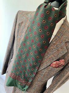 "VTG mens mod 70's RUTSCHFEST GREEN RETRO PATTERN wool blend LONG SCARF 11 x 46"""