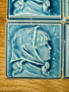Lot of 35 Blue Trent Relief Tiles Right facing girl with scarf.  STUNNING!