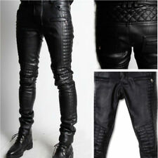 New Men's Genuine Soft Lambskin Leather Pants Sim Party Casual Pant P40