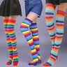 Women Cotton Over Knee High Socks Rainbow Stripes High Stockings Thigh Socks