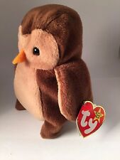 AUTHENTICATED by Becky's True Blue Beans-Hoot #4073 TY Beanie Baby 8-9-95 PVC