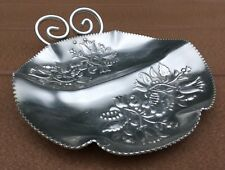 Aluminum Candy Nut Dish Tulips Floral Round Double Handle