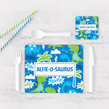 Personalised Dinosaur O Saurus Raw Boys Kids Children's Table Placemat & Coaster