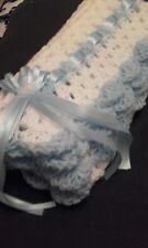 "hand crochet baby boys blanket car seat/crib/pram 26"" WHITE/BLUE *NEW*"