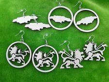 Wooden earrings kit Jamaica shape Lion of Judah laser cut for crafts plain birch