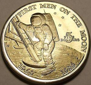 Massive Gem Unc Marshall Islands 1989 Five Dollars~First Men On The Moon~Free Sh