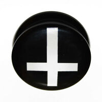 Black White Inverted Cross Crucifix Acrylic Ear Plug Flesh Tunnel 4mm - 25mm
