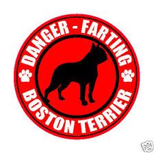 "FARTING BOSTON TERRIER FART 5"" DOG STICKER"
