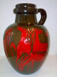 Vase Scheurich Horses Pferde Chevaux 486-38 H: 38 cm Fat Lava Henkel Handle LOOK
