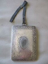 Antique Art Nouveau Deco Hammered Silver Card Case Coin Holder Purse Compact EAM