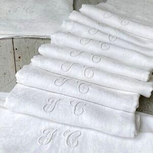 Set of 12 White Napkins JC Monogram Antique French Linen Damask Cotton Napkins