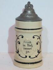 """Antique 1/2L German Beer Stein possibly Reinhold Hanke """"Always Drink in Peace"""""""