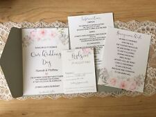 Grey Floral Pocket Fold Wedding Invitation, Honeymoon Wish, RSVP Sample