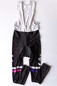 Women's LIV Black & White Padded Cycling Long Bib Pants Tights Size 2XL