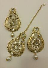 New Indian bollywood Elegant tikka & Earrings in gold jewellery