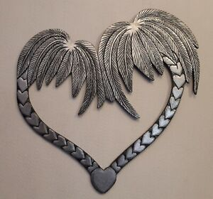 Unusual Silver Palm Heart Silver Black Entwined Palm Tree Love Heart Wall Art