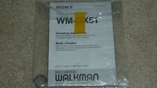 Sony Walkman Model WM-GX51 Radio Cassette Recorder Operating Instructions