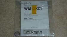 Sony Walkman Model WM-GX51 Radio Cassette Recorder Operating Instructions