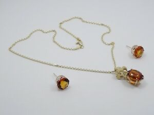 SOLID 14K YELLOW GOLD 8 CT NATURAL CITRINE PENDANT NECKLACE & EARRINGS ~ 13.3g