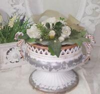 Pokal Vase Amphore Metall weiß Shabby Vintage Landhaus Garten Deko 10x18cm