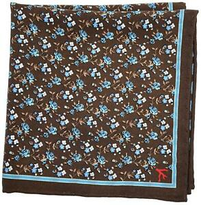 Isaia Pocket Square Reversible Brown Floral-Geometric 06PS0144 $140
