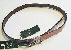 Lauren Ralph Lauren Womens Classic Reversible Skinny Belt Mellow Pink/Taupe Sz L