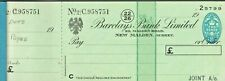 BARCLAYS BANK - AN UNUSED CHEQUE BOOK [x 25 cheques] 1950