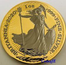 2020 1oz .999 £2 Silver Britannia Ruthenium & Gold Gilded Silver Coin