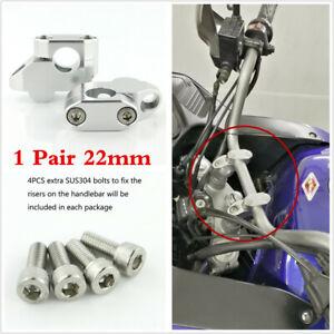 "2Pcs Motorcycle ATV 22mm 7/8"" Handlebar Riser Clamp Handle Bar Back Mount Extend"