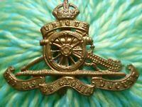 WW1 Royal Artillery Regiment Cap Badge KC All BRASS Slider SUPER Antique