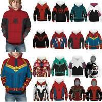 Kid Boy Marvel Avengers Superhero Hoodie Hooded Pullover Sweatshirt Winter Tops
