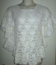 Handmade CROCHET TOP White Tulip Pattern RUFFLES Shirt WOMENS Custom Made