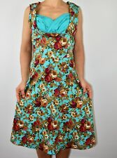 New Lindy Bop Ophelia Blue Turquoise Floral Dress Pin Up Rockabilly Size 16 AD
