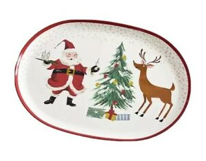 NEW Pottery Barn Kids Jolly Santa Platter Christmas Plate Decor Serving Reindeer
