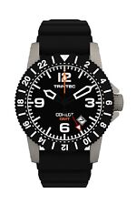 NEW Trintec Aviation Co-Pilot GMT Men Stainless Steel Watch Rubber Band + Org
