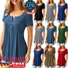 Plus Size Womens Loose Casual Shirt Short Sleeve Button up Tunic Tops Blouse