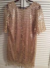 NWT DEAR'GLES 1/2 Sleeve Gold Sequin Short Knit Dress Sz L MINT