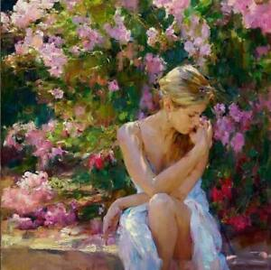 CHOP1381 100% hand painted beauty girl with flowers oil painting art on canvas
