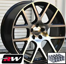 Dodge Charger Wheels 20 inch Challenger Scat Pack Black Machined Rims & Lug Nuts