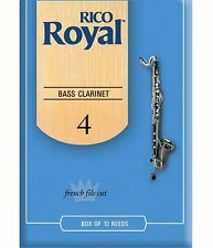 1 Box of 10 Rico Royal Reeds (REB1040) for Bass Clarinet. Strength/Size: 4. NEW!
