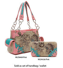 Women's Western 'Native American & Tiger' Pink Satchel Designer Handbag w Wallet