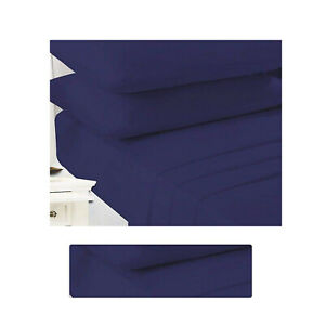 Non Iron Percale Double Sheets Fitted Extra Deep Poly Cotton Navy Sheets Double