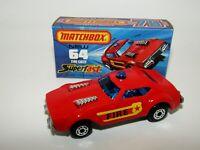 "Matchbox Superfast No 64 Fire Chief Car ""NO OUTLINE ON SHIELD"" MIB RARE"
